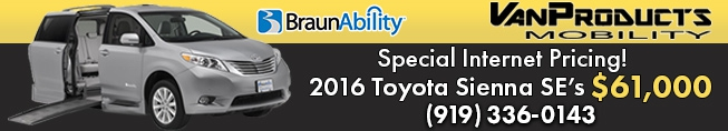 Toyota Sienna Mobility Vans on sale through Van Products