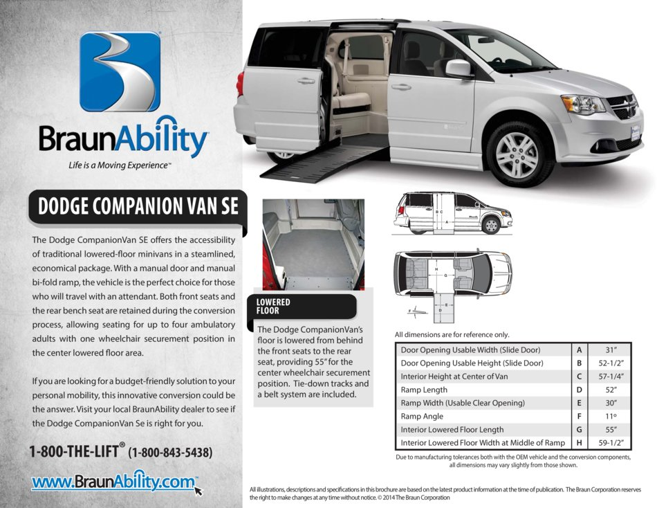 Braunability Chrysler Compaionvan Plus Side Entry Wheelchair Van