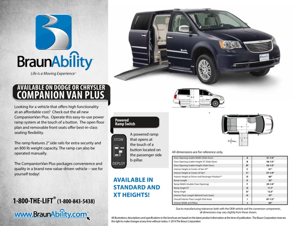 Braunability Chrysler Companionvan Plus Xt Side Entry Wheelchair Van