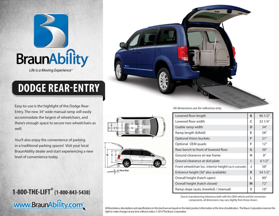Braunability Dodge Manual Rear Entry Wheelchair Van