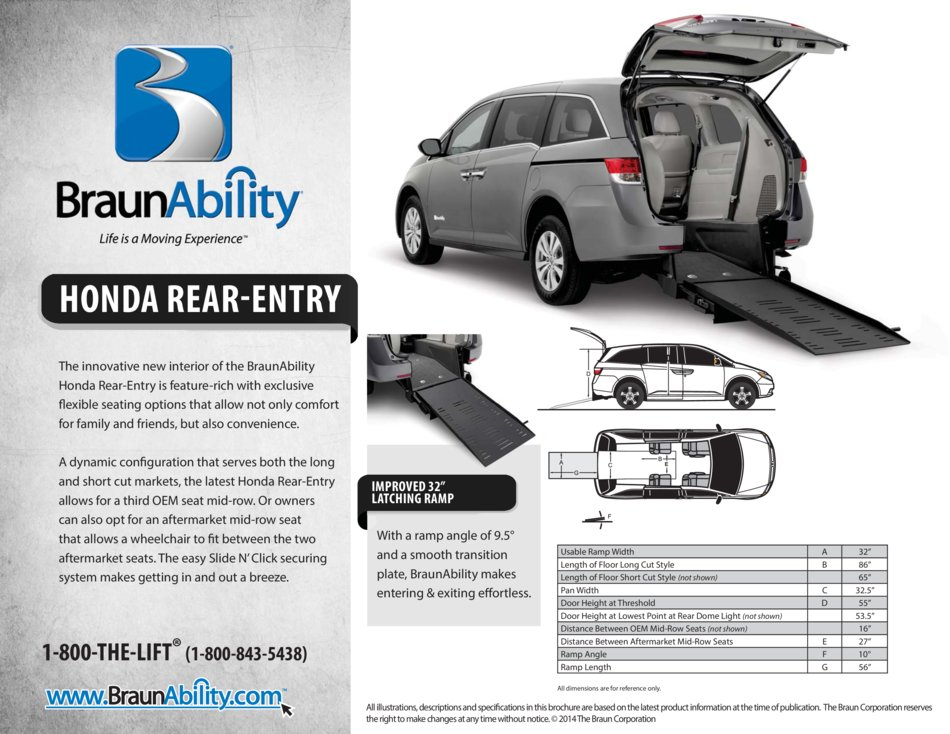 Braunability Honda Manual Rear Entry Wheelchair Van