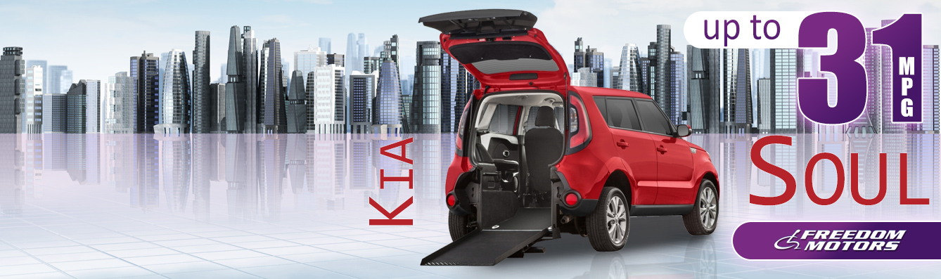 Kia Soul wheelchair accessible vehicle.  Rear entry with ramp deployed.