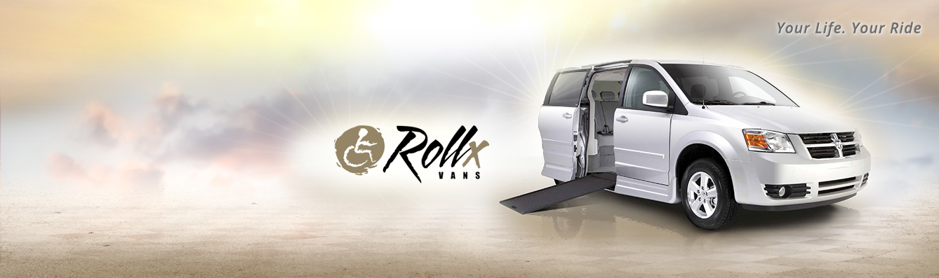 Side entry Rollx wheelchair van with automatic wheelchair ramp deployed.