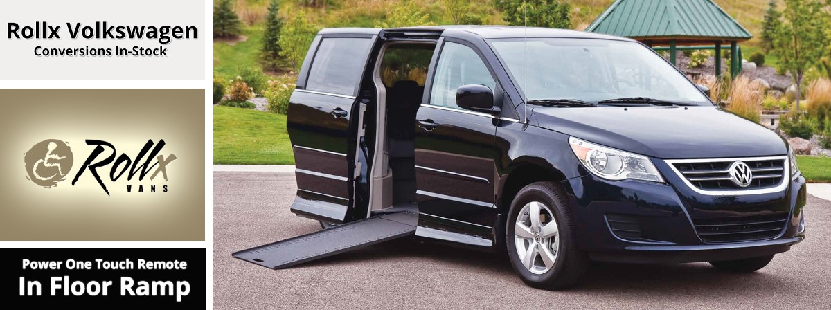 Volkswagen wheelchair accessible van with rollx in floor ramp