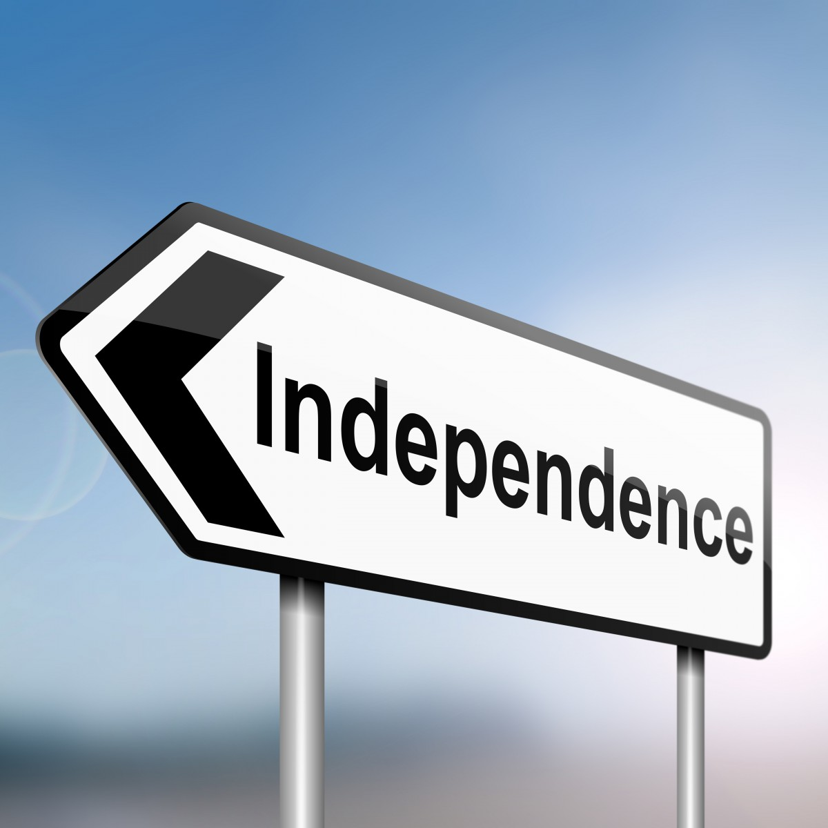 Road sign saying independence