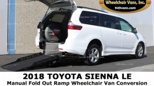 Used Wheelchair Van For Sale: 2018 Toyota Sienna LE Wheelchair Accessible Van For Sale with a Revability - TOYOTA SIENNA ADVANTAGE RE on it. VIN: 5TDKZ3DC0JJS906684