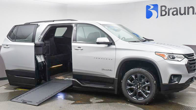 New Wheelchair Van For Sale: 2021 Chevrolet Traverse LT Wheelchair Accessible Van For Sale with a BraunAbility BraunAbility Chevy Traverse - Wheelchair SUV on it. VIN: 1GNERJKW8MJ115357
