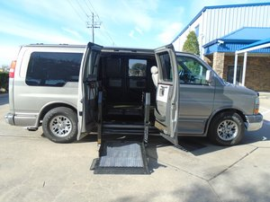 Used Wheelchair Van For Sale: 2003 GMC Savana  Wheelchair Accessible Van For Sale with a Non Branded Wheelchair Lift & Tiedowns on it. VIN: 1GDFG15T631230490