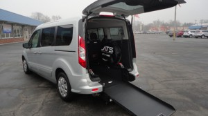 Used Wheelchair Van For Sale: 2015 Ford Transit Connect Wagon XLT w/Rear Liftgate LWB  Wheelchair Accessible Van For Sale with a ATS - ATS Rear Entry on it. VIN: NM0GE9F70F1186115