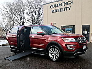 New Wheelchair Van For Sale: 2016 Ford Explorer Limited Wheelchair Accessible Van For Sale with a BraunAbility MXV Wheelchair SUV on it. VIN: 1FM5K7F80GGC08673