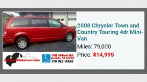 Used Wheelchair Van For Sale: 2008 Chrysler Town and Country  Wheelchair Accessible Van For Sale with a BraunAbility - Chrysler Manual Rear Entry on it. VIN: 2A8HR54P88R816140
