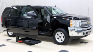 Used Wheelchair Van For Sale: 2013 Chevrolet Silverado Crew Wheelchair Accessible Van For Sale with a Mobility SVM - Wheelchair truck conversion on it. VIN: 3GCPCSE0XDG123350