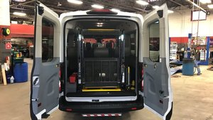 Used Wheelchair Van For Sale: 2019 Ford Transit S Wheelchair Accessible Van For Sale with a Transit Works Ford Transit Full-Size Van on it. VIN: 1FBZX2CM9KKB67109
