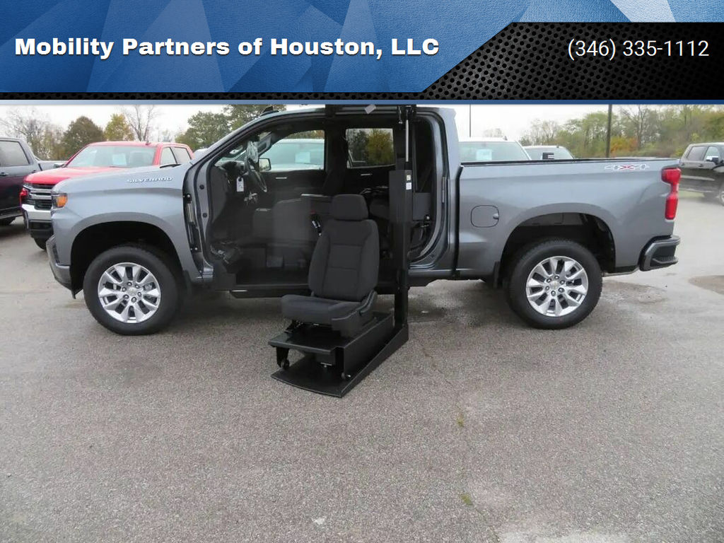New Wheelchair Van For Sale: 2021 Chevrolet Silverado Crew Wheelchair Accessible Van For Sale with a ATC Wheelchair Truck Conversions - 1500 Chevy & GMC Trucks on it. VIN: 1GCUYBEF3MZ106169