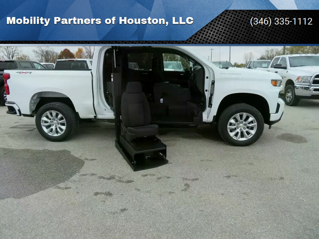 New Wheelchair Van For Sale: 2021 Chevrolet Silverado Crew Wheelchair Accessible Van For Sale with a ATC Wheelchair Truck Conversions - 1500 Chevy & GMC Trucks on it. VIN: 1GCUYBEF2MZ107359