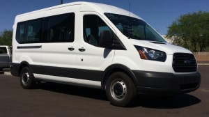 New Wheelchair Van For Sale: 2015 Ford Transit Wagon 350 XL Medium Roof  Wheelchair Accessible Van For Sale with a Mobility Works - Ford Transit Full-Size Van on it. VIN: 1FBAX2CG1FKA53215