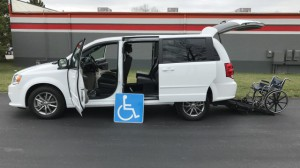 Used Wheelchair Van For Sale: 2017 Dodge Grand Caravan SE  Wheelchair Accessible Van For Sale with a FR Wheelchair Vans - Dodge Rear Entry on it. VIN: 2c4rdgbg7hr640383