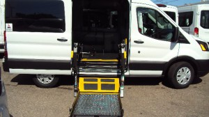 New Wheelchair Van For Sale: 2019 Ford T150 Vans  Wheelchair Accessible Van For Sale with a Sunset Vans Inc - Ford Transit 130WB on it. VIN: 1FTYE1CM8KKB28129