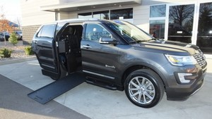 Used Wheelchair Van For Sale: 2017 Ford Explorer Limited Wheelchair Accessible Van For Sale with a BraunAbility MXV Wheelchair SUV on it. VIN: 1FM5K7F82HGB80635