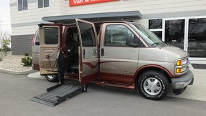 Used Wheelchair Van For Sale: 1999 Chevrolet Express EX Wheelchair Accessible Van For Sale with a Non Branded Wheelchair Lift & Tiedowns on it. VIN: 1GBFG15R0X1045581