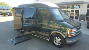 Used Wheelchair Van For Sale: 2002 Chevrolet Express EX Wheelchair Accessible Van For Sale with a Non Branded Wheelchair Lift & Tiedowns on it. VIN: 1GBFG15R821110654
