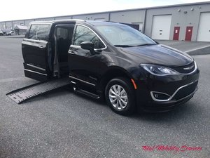 New Wheelchair Van For Sale: 2019 Chrysler Pacifica Touring Wheelchair Accessible Van For Sale with a BraunAbility Chrysler Entervan XT on it. VIN: 2C4RC1BG1KR643741