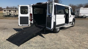 New Wheelchair Van For Sale: 2018 Ram Promaster  Wheelchair Accessible Van For Sale with a AutoAbility Wheelchair Van Conversions - Wheelchair Accessible Ram Promaster with ramp on it. VIN: 3c6trvag8je113738